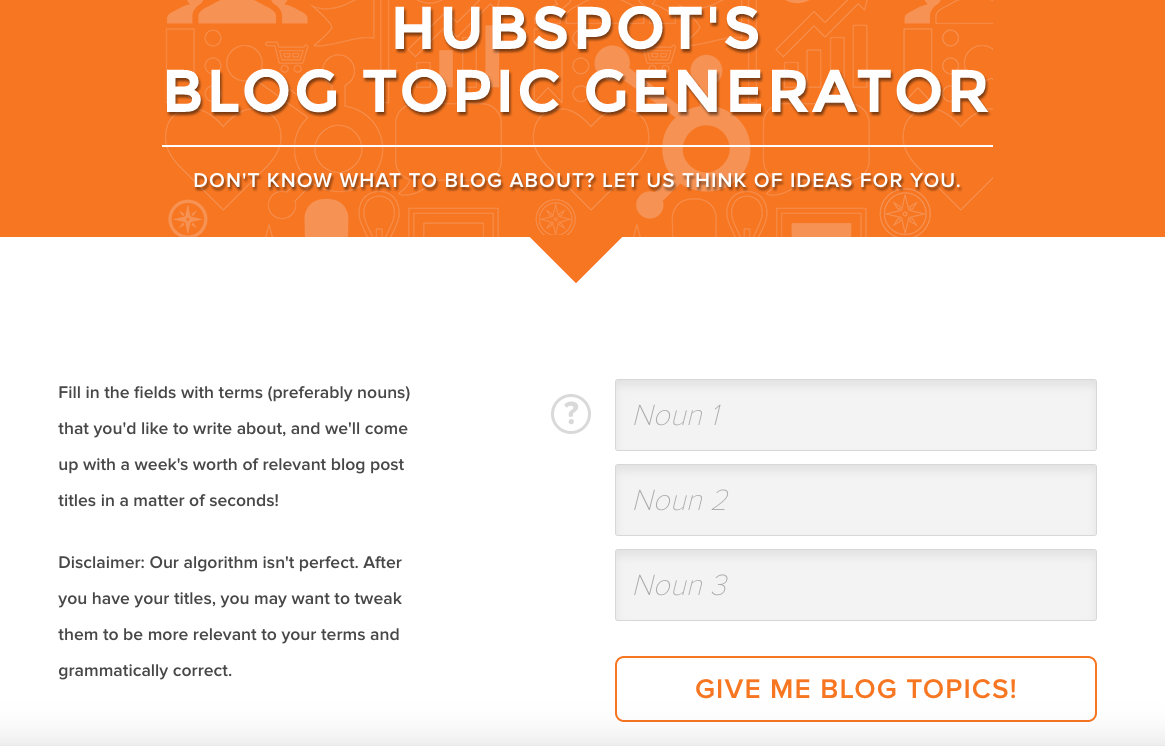 hubspot blog topic generator homepage