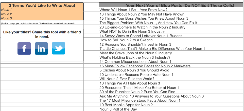 year's worth of blog posts via hubspot