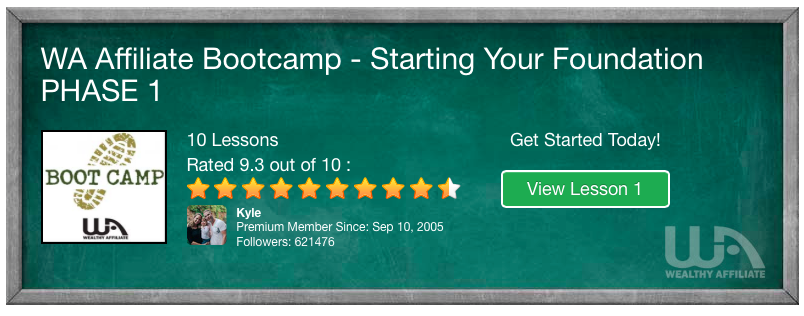 "Wealthy Affiliate ""Affiliate Bootcamp"" Training"